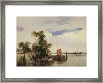 Barges On A River Framed Print by Richard Parkes Bonington