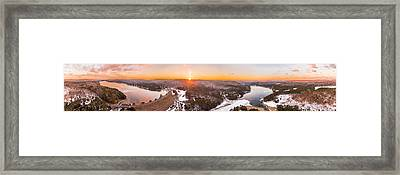 Barkhamsted Reservoir And Saville Dam In Connecticut, Sunrise Panorama Framed Print