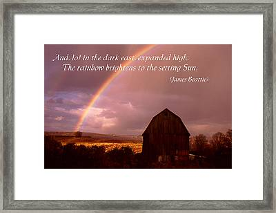 Barn And Rainbow Poster Framed Print by Roger Soule