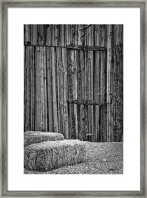 Barn Doors And Hay Framed Print by Susan Candelario