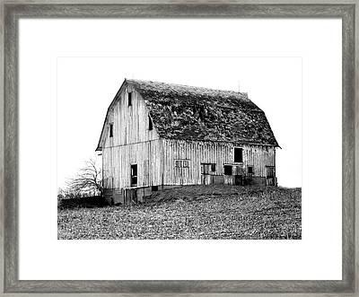 Barn On The Hill Bw Framed Print by Julie Hamilton
