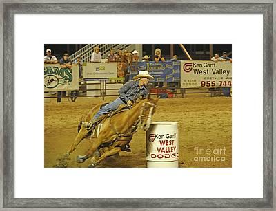 Barrel Racing Framed Print by Dennis Hammer
