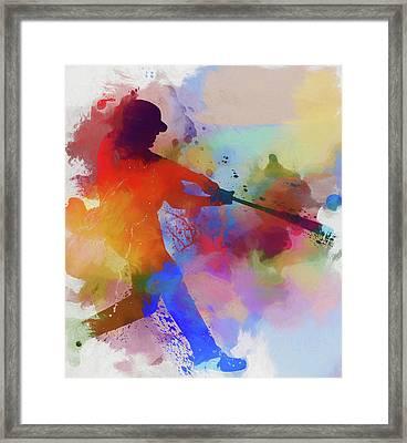 Baseball Player Paint Splatter Framed Print by Dan Sproul