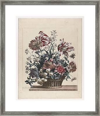 Basket With Flowers Framed Print by Celestial Images