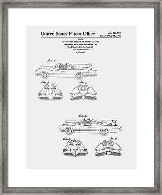 Batmobile Car Patent 1966 Framed Print