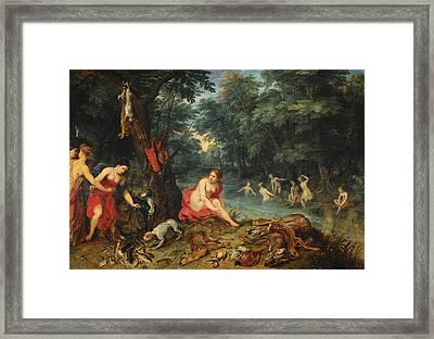 Bathing Nymphs Framed Print by Jan Brueghel the Elder