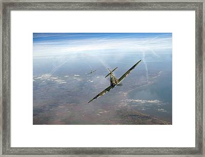 Framed Print featuring the photograph Battle Of Britain Spitfires Over Kent by Gary Eason