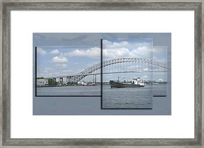 Bayonne Bridge And Boat Framed Print by Richard Xuereb