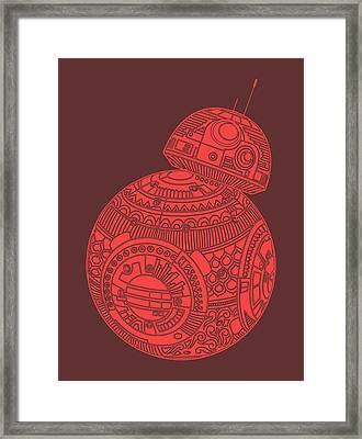 Bb8 Droid - Star Wars Art, Red Framed Print