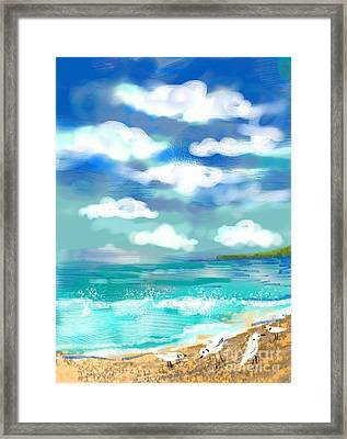 Framed Print featuring the digital art Beach Birds by Elaine Lanoue
