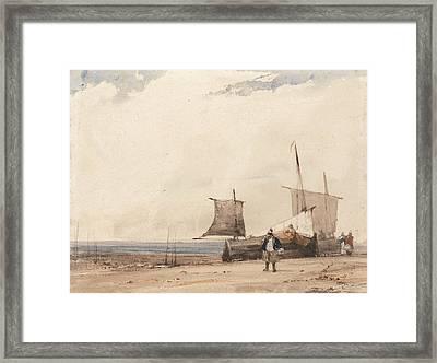 Beach Scene Framed Print by Richard Parkes Bonington