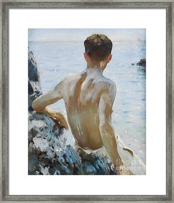 Beach Study Framed Print by Henry Scott Tuke