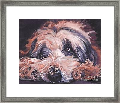 Bearded Collie Framed Print by Lee Ann Shepard