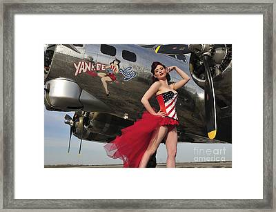 Beautiful 1940s Style Pin-up Girl Framed Print