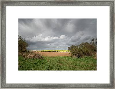 Beautiful Agricultural English Countryside Landscape During Earl Framed Print by Matthew Gibson