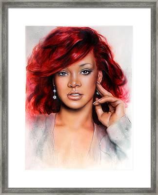 beautiful airbrush portrait of RihanA beautiful airbrush portrait of Rihanna with red hair and a fac Framed Print by Jozef Klopacka