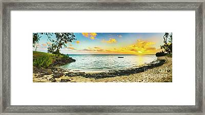 Beautiful Beach At Sunset. Panorama Framed Print
