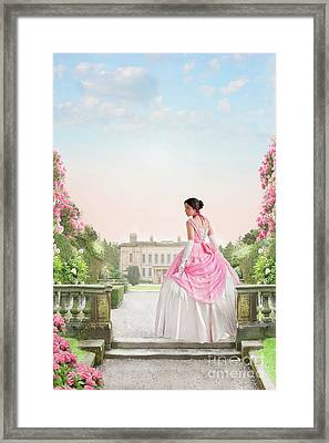 Beautiful Victorian Woman In The Garden Framed Print