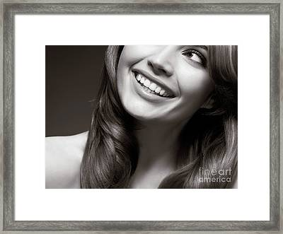 Beautiful Young Smiling Woman Framed Print by Oleksiy Maksymenko
