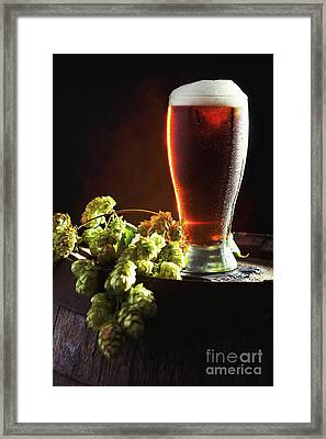 Beer And Hops On Barrel Framed Print
