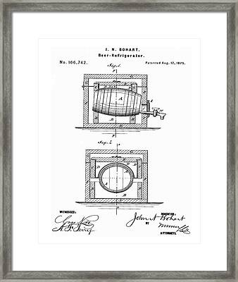 Beer Keg Refridgerator 1875 In Red Framed Print by Bill Cannon