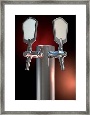Beer Tap Dual Dark Framed Print