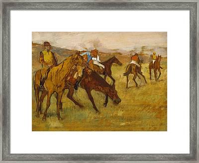 Before The Race Framed Print by Edgar Degas