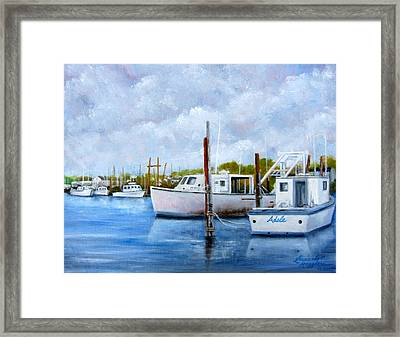 Belford Nj Fishing Port Framed Print by Leonardo Ruggieri