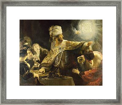 Belshazzar's Feast Framed Print by Rembrandt