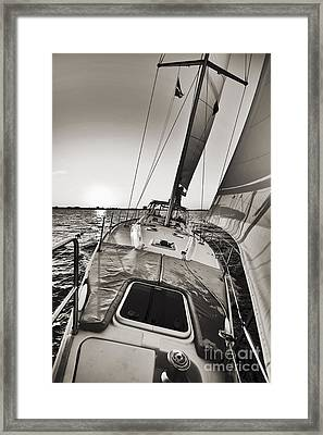 Beneteau 49 Sailing Yacht Close Hauled Charleston Sunset Sailboat Framed Print