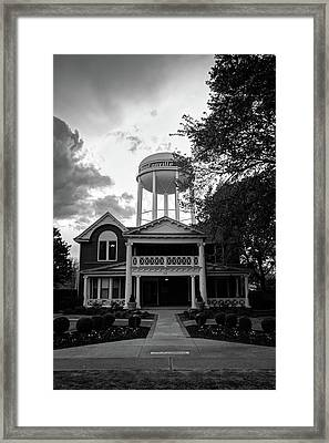 Framed Print featuring the photograph Bentonville Arkansas Water Tower - Black And White by Gregory Ballos