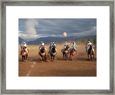 Berber Horseman Firing Rifles Framed Print