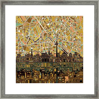 Berlin City Skyline Abstract Framed Print by Bekim Art