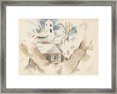 Bermuda No. 1, Tree And House Framed Print by Charles Demuth