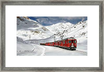 Bernina Winter Express Framed Print