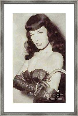 Bettie Page Pinup Star Framed Print by Frank Falcon