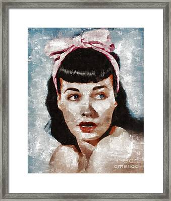 Bettie Page Pinup Star Framed Print by Mary Bassett
