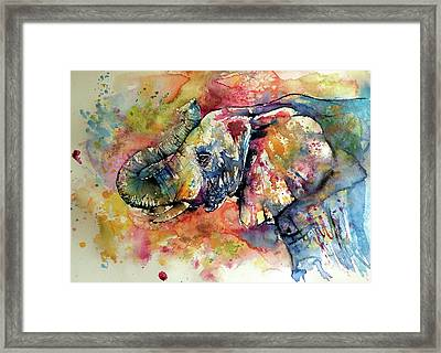 Framed Print featuring the painting Big Colorful Elephant by Kovacs Anna Brigitta