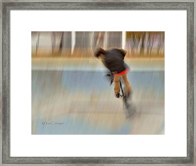 Framed Print featuring the photograph Biking  The Skateboard Park 4 by Kae Cheatham