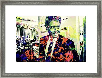 Bill Clinton Framed Print by Svelby Art