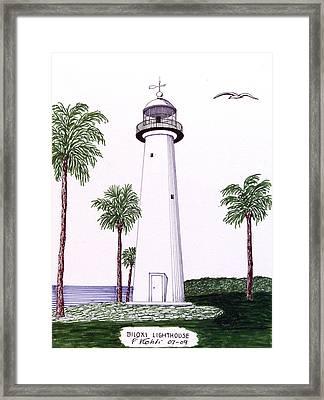 Biloxi Lighthouse Framed Print by Frederic Kohli