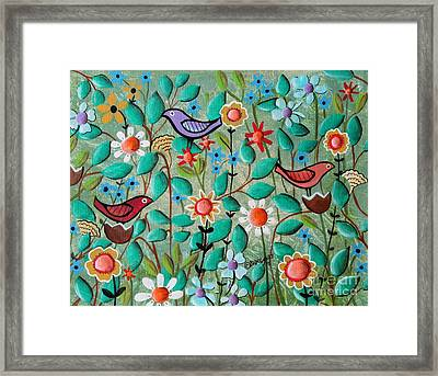 Birds And Blooms Framed Print by Karla Gerard