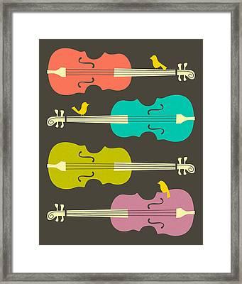 Birds On Cello Strings Framed Print