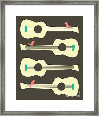 Birds On Guitar Strings Framed Print