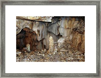 Framed Print featuring the photograph Bizarre Mineral Formations In Stalactite Cavern by Michal Boubin