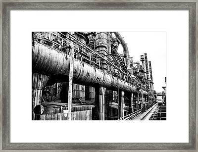 Black And White - Bethlehem Steel Mill Framed Print by Bill Cannon