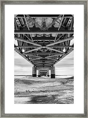 Framed Print featuring the photograph Black And White Mackinac Bridge Winter by John McGraw