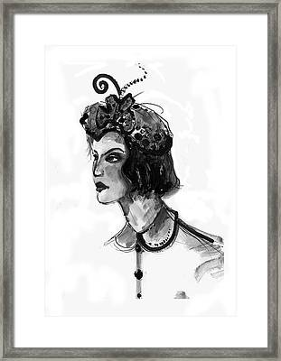 Framed Print featuring the mixed media Black And White Watercolor Fashion Illustration by Marian Voicu