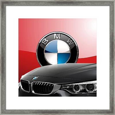 Black B M W - Front Grill Ornament And 3 D Badge On Red Framed Print