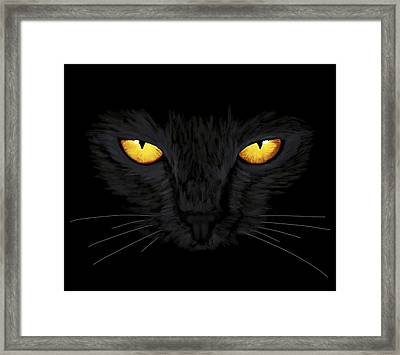 Framed Print featuring the painting Superstitious Cat by Anastasiya Malakhova